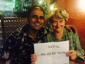 Mum with Deven, actor, model, lyricist, the owner of the Manang Hotel, Kathmandu and, most importantly, our very good friend
