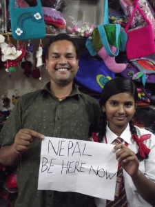 Shatrudhan and his daughter Neha, from Mithaila Women Craft, Kathmandu