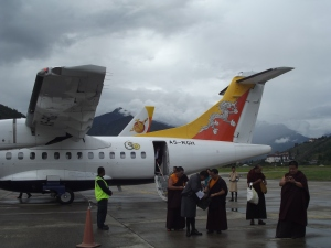 Plane on the tarmac at Paro airport