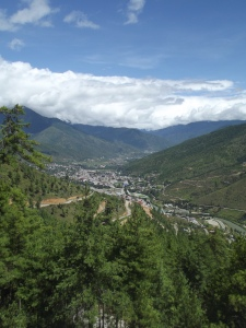 View over Thimphu from the Buddha
