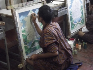 Painting a thangka