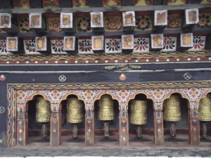 Prayer wheels at Trashi Chhoe Dzong Thimphu