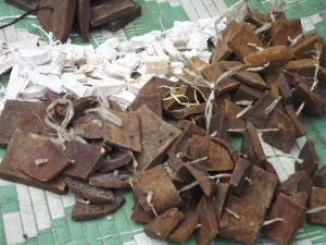 Dried yak cheese - the brown squares are smoked yak cheese